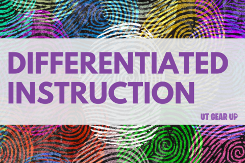 """This image features text reading """"Differentiated Instruction"""" over a colorful background."""