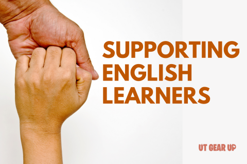 """This image features a photograph of two hands. The adult hand extends from the top of the photo and is clasping a child's hand, which extends from the bottom. Superimposed over the photo are the words """"Supporting English Learners."""""""