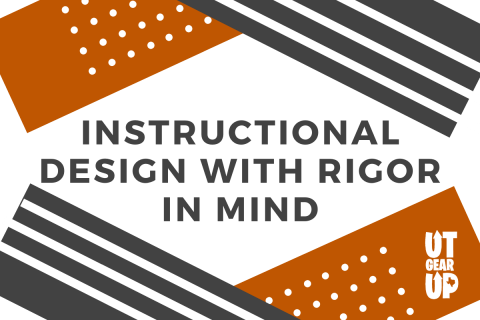 """This image features text reading """"Instructional Design with Rigor in Mind"""" superimposed over a colorful background."""